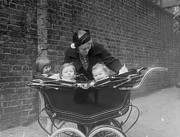 45-49 Years Prints - Children In Pram Print by London Express