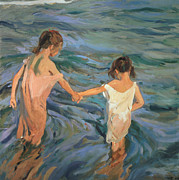 White Dress Posters - Children in the Sea Poster by Joaquin Sorolla y Bastida