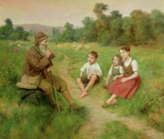 Sisters Paintings - Children Listen to a Shepherd Playing a Flute by J Alsina