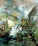 Bird On Tree Painting Prints - Children of the Mountain Print by Thomas Moran