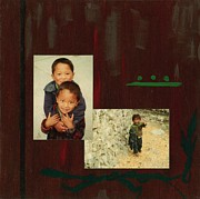 Southeast Asia Paintings - Children of Tibet by Kathleen Fitzpatrick