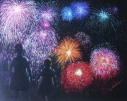 Silhouettes Pastels Prints - Children on the 4th of July Print by Diane Larcheveque