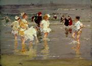 Summer Scenes Prints - Children on the Beach Print by Edward Henry Potthast