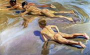 Sorolla Y Bastida; Joaquin (1863-1923) Prints - Children on the Beach Print by Joaquin Sorolla y Bastida