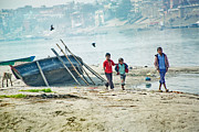 Religious Prints Photos - Children on the Ganges by Agnessa Belvede