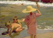 Pink Dress Prints - Children on the seashore Print by Joaquin Sorolla y Bastida