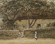 Building Painting Framed Prints - Children outside a Cottage Framed Print by Helen Allingham