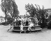 1920s Candid Framed Prints - Children Playing At A Playground, Circa Framed Print by Everett