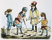 19th Century America Metal Prints - Children Playing Croquet Metal Print by Granger