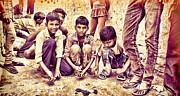 India Pyrography Metal Prints - Children Playing Metal Print by Parikshat sharma