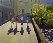 Village Paintings - Children Running by Andrew Macara