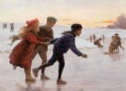 Snowy Evening Painting Posters - Children Skating Poster by Percy Tarrant