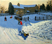 Sledding Framed Prints - Children Sledging Framed Print by Andrew Macara