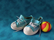 Baby Boy Framed Prints - Children Sneakers Framed Print by Carlos Caetano