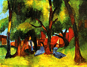 Macke Posters - Children under sunny trees Poster by Stefan Kuhn