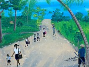 Primary School Painting Framed Prints - Children Walking to School Framed Print by Nicole Jean-Louis