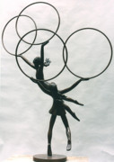 Little Girls Sculptures - Children with Hoops by Esther Wertheimer