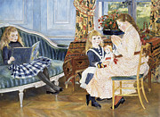 Long Blonde Hair Framed Prints - Childrens Afternoon at Wargemont Framed Print by Pierre Auguste Renoir