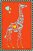 Children Decor Mixed Media - Childrens Art Gentle Giraffe on Orange by ArtyZen Kids