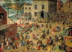 Child Paintings - Childrens Games by Pieter the Elder Bruegel
