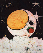 Child Tapestries - Textiles Prints - Childrens Moon Print by Alexandra  Sanders