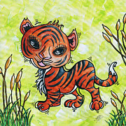 Set Painting Prints - Childrens Nursery Art Original Big Cat Cub Painting TINY TIGER by MADART Print by Megan Duncanson