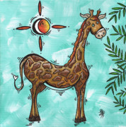 Africa Wall Art Prints - Childrens Nursery Art Original Giraffe Painting PLAYFUL by MADART Print by Megan Duncanson