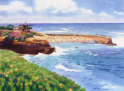 Guard Painting Prints - Childrens Pool in La Jolla Print by Mary Helmreich