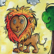 Lion Framed Prints - Childrens Whimsical Nursery Art Cutie Pie by MADART Framed Print by Megan Duncanson
