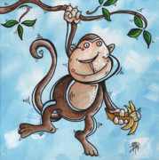 Banana Prints - Childrens Whimsical Nursery Art Original Monkey Painting MONKEY BUTTONS by MADART Print by Megan Duncanson