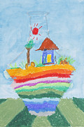 Painted Image Drawings - Childs drawing of house in bottle by Suphatthra China