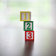 Number 3 Prints - Childs Numbered Building Blocks 1-3 In A Stack Print by Steven Errico