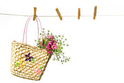 Hanging Laundry Posters - Childs straw purse with flowers Poster by Sandra Cunningham