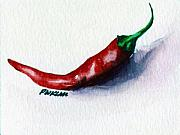 Pepper Paintings - Chili pepper red 001 - Mini study by Peter Lau