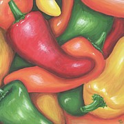 Chili Peppers Painting Originals - Chili Peppers by Jeannette Bowen