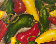 Red Hot Chili Peppers Paintings - Chili Peppers by Nicole Okun