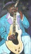 Guitar Player Mixed Media Prints - Chilin Blues John Lee Hooker Print by Todd  Peterson