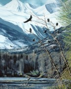 Eagle Paintings - Chilkat River Eagles by Bob Patterson