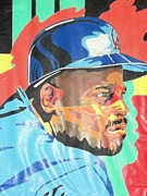 Baseball Pastels Posters - Chilli Davis Poster by Damion Powell