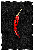 Linocut Prints - Chilli Pepper, Woodcut Print by Gary Hincks