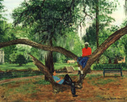 Park Benches Painting Posters - Chillin in City Park NOLA Poster by Beverly Kimble Davis