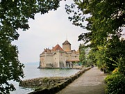 Travel Destination Posters - Chillon Castle Poster by Marilyn Dunlap
