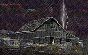 Tennessee Barn Digital Art Posters - CHILLY and WET NIGHT IN TN Poster by EricaMaxine  Price