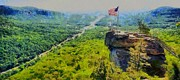 Chimney Rock North Carolina Posters - Chimney Rock NC Poster by Elizabeth Coats