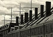 Sailing Ships Prints - Chimneys and Masts Print by Brian M Lumley