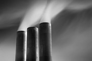 In A Row Metal Prints - Chimneys Billowing Metal Print by Mark Voce Photography