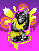 Disk Digital Art Posters - Chimpanzee Dj Poster by New Vision Technologies Inc