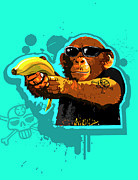 Chimpanzee Digital Art Framed Prints - Chimpanzee Holding Banana Like Gun Framed Print by New Vision Technologies Inc