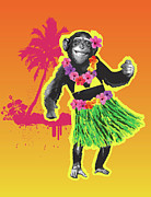 Chimpanzee Digital Art Prints - Chimpanzee Hula Dancing Print by New Vision Technologies Inc