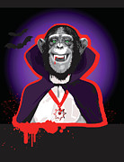 Dracula Digital Art Metal Prints - Chimpanzee In Dracula Costume Metal Print by New Vision Technologies Inc